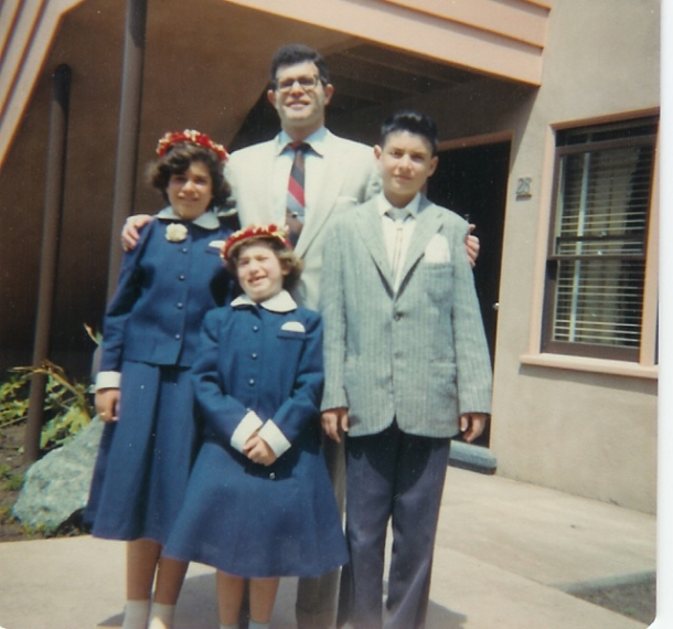 Bev, Marlene, Arnie and Dad at apt. in Westlake 1957